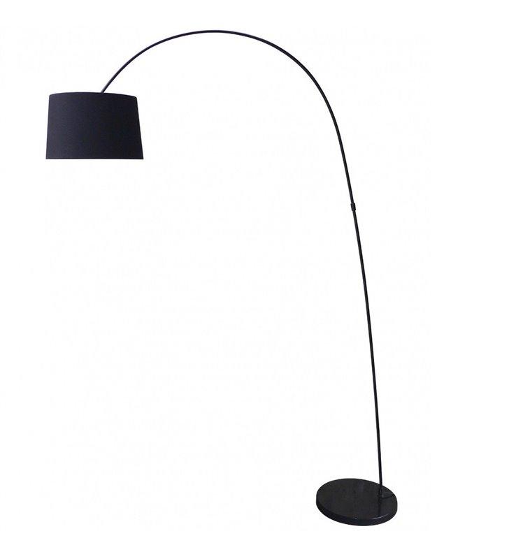 Czarna nowoczesna lampa podłogowa Costanza na wysięgniku abażur