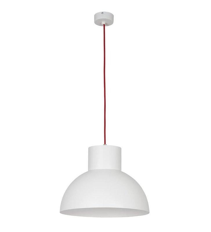 Lampa wisząca Works biała z czerwonym przewodem