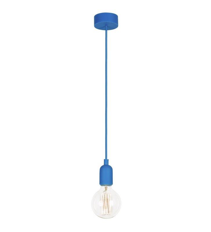 Lampa wisząca Silicone przewód w oplocie w kolorze niebieskim do żarówki - OD RĘKI