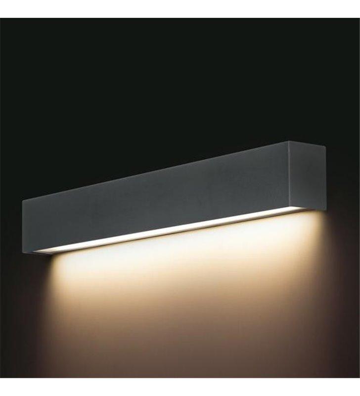 Kinkiet Straight Graphite LED podłużny metalowy grafitowy nowoczesny strumień światła w dół
