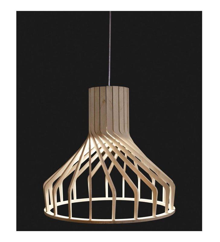 Lampa wisząca Bio klosz z naturalnego drewna długi kabel