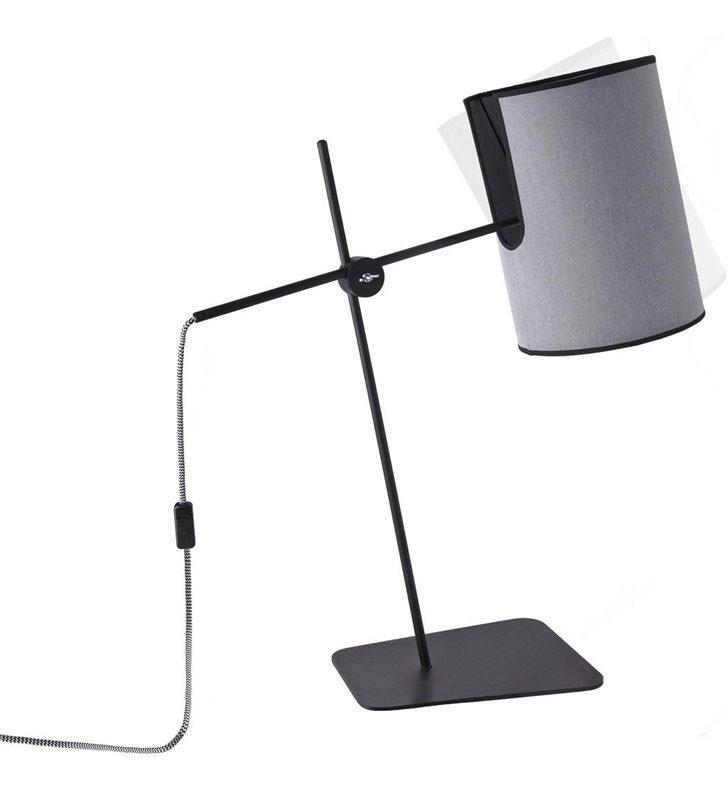 Szara nowoczesna lampa stołowa Zelda do salonu sypialni na komodę stolik nocny