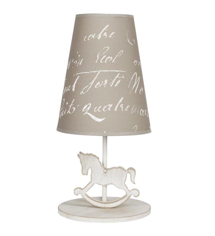 Lampa stołowa z koniem Pony beżowa do pokoju dziecka - OD RĘKI