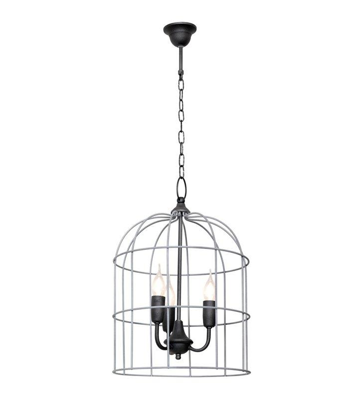 Szara lampa klatka wisząca Kolibri druciana wewnątrz 3 żarówki - DOSTĘPNA OD RĘKI