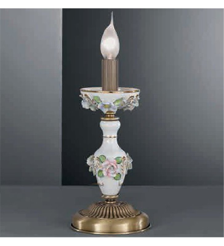 Lampa stołowa z elementami porcelany Marsala