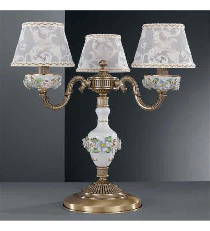 Lampa stołowa porcelanowa z abażurem Accera mosiądz