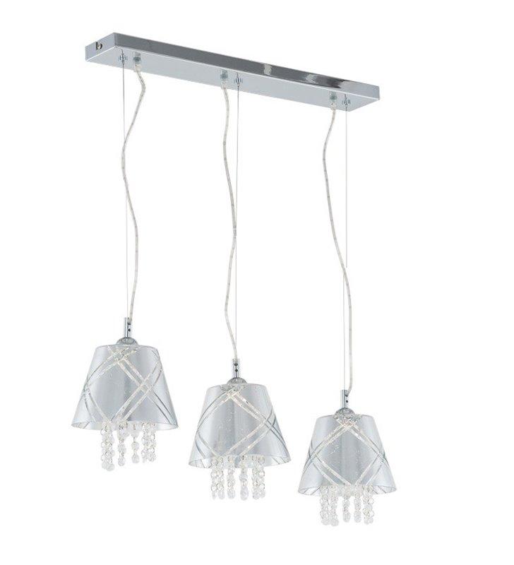 Lampa wisząca potrójna Blaze srebrna z kryształkami nad stół do jadalni kuchni salonu klosze szklane
