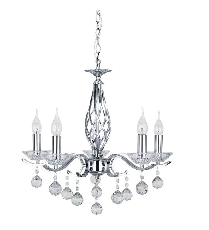 Żyrandol kryształowy Nostra 5 ramienny świecznikowy do salonu sypialni jadalni