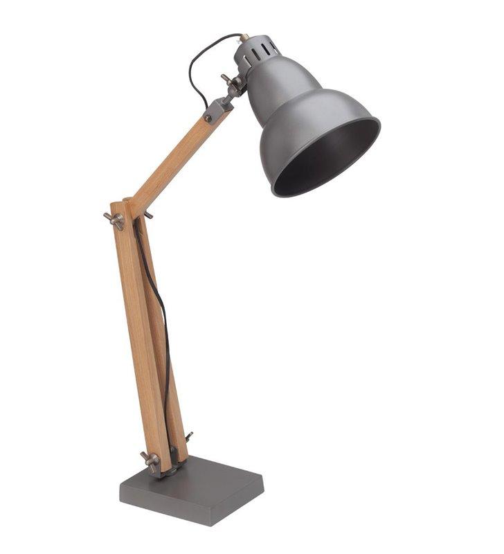 Lampa stołowa biurkowa Edward styl loftowy drewniana podstawa z metalowym kloszem - DOSTĘPNA OD RĘKI