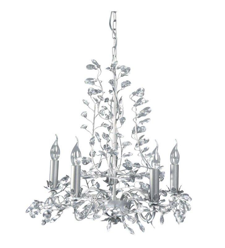 Żyrandol Buquet świecznikowy srebrny z kryształkami 5 punktowy do salonu sypialni jadalni restauracji - DOSTĘPNY OD RĘKI