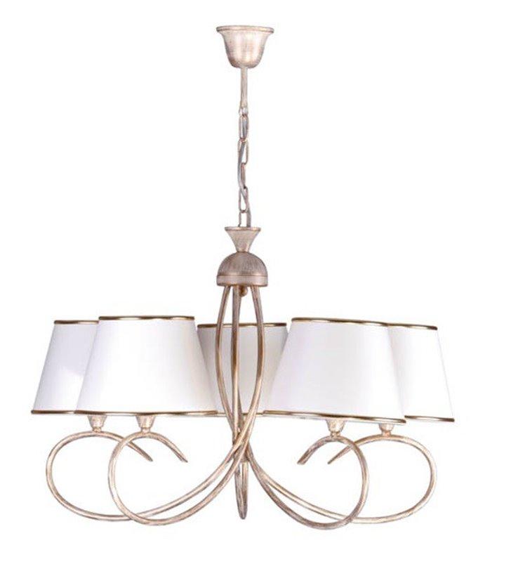 Żyrandol 5 ramienny beżowo złoty Katania abażury ecru do salonu sypialni jadalni