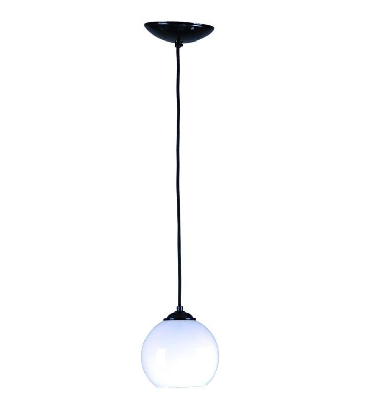 Lampa wisząca Ringo biała szklana kula czarny zwis