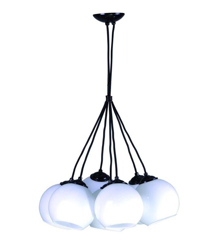 Lampa wisząca Ringo 7 płomienna biała szklana kula