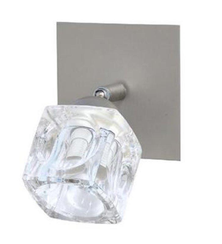 Pojedynczy kinkiet Kostka nowoczesny klosz bezbarwny szklana kostka