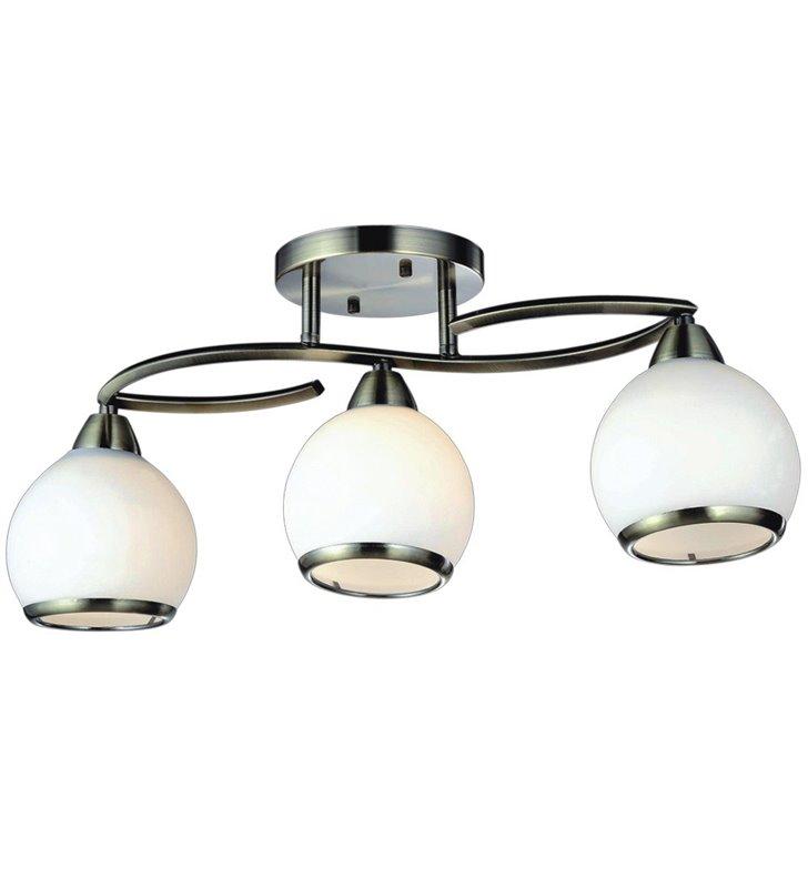 Lampa sufitowa Olo potrójna patyna okrągłe klosze ze szkła wykończone metalową obręczą