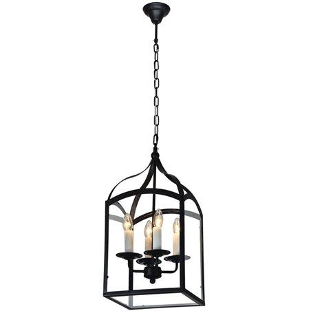 Lampa wisząca Cage czarna metalowa lampion z 4 żarówkami