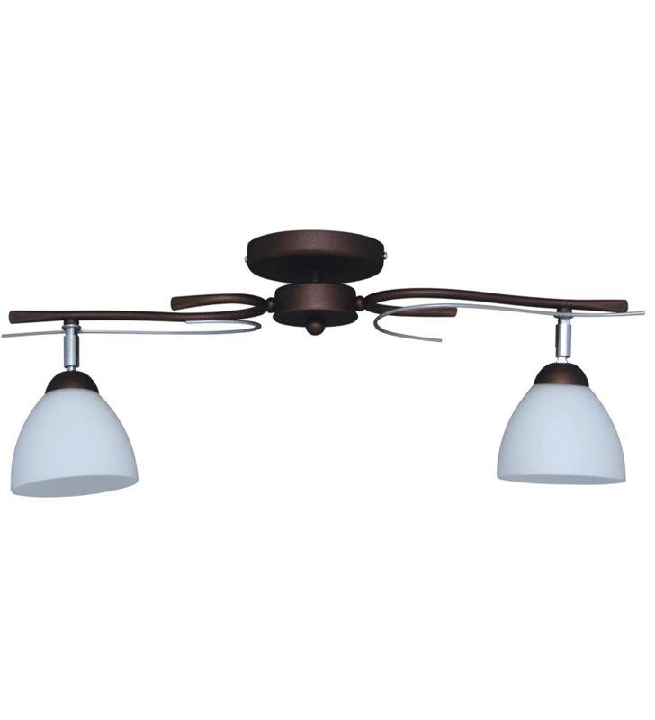 Mono lampa sufitowa 2 punktowa brązowa klosze ze szkła