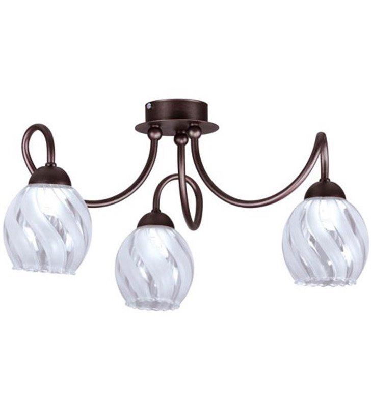 Lampa sufitowa Evan 3 ramienna brązowa szklane zdobione klosze