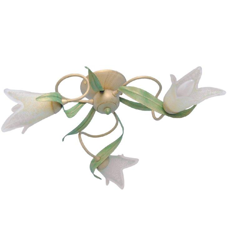 Lampa sufitowa Finezja beżowa klosze szklane kwiatki w stylu florentyńskim - DOSTĘPNA OD RĘKI