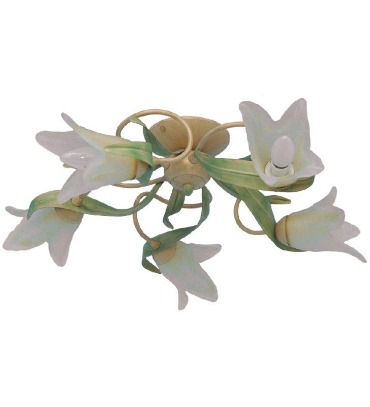 Pastelowa lampa sufitowa Finezja beżowa z zielonymi listkami klosze szklane kwiatki w stylu florentyńskim - DOSTĘPNA OD RĘKI