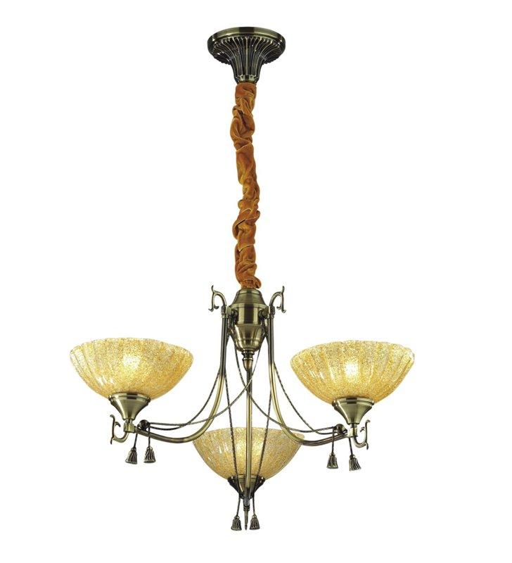 Stylowy klasyczny żyrandol potrójny Parys kolor patyna szklane klosze w górę tkanina na łańcuchu do salonu sypialnI - OD RĘKI