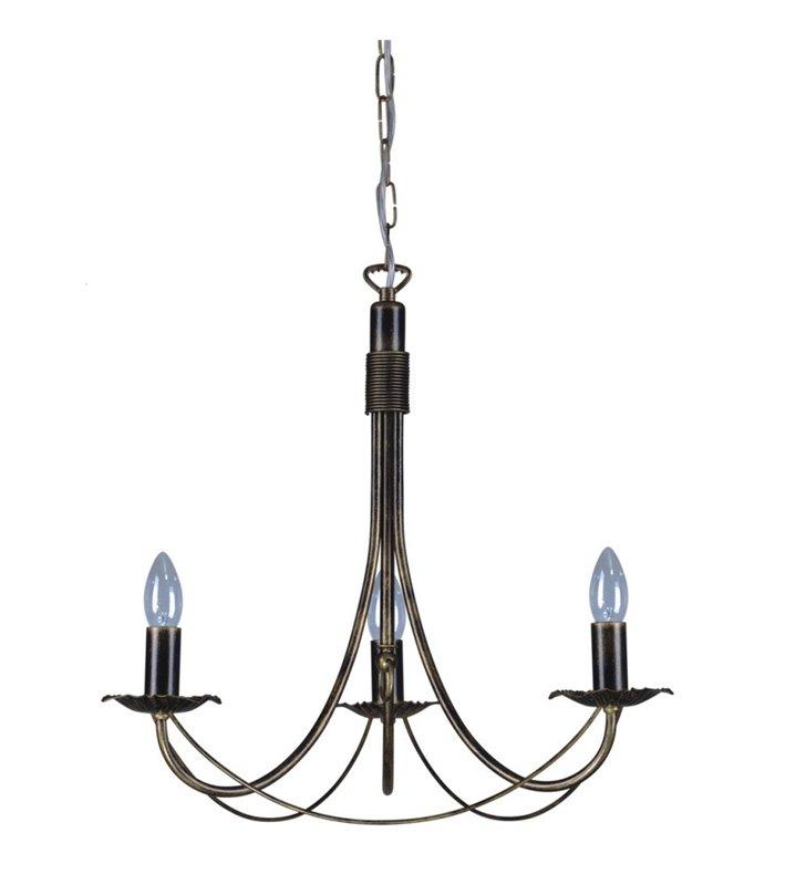 Żyrandol Kordian świecznikowy 3 płomienny klasyczny bez kloszy w klasycznym stylu