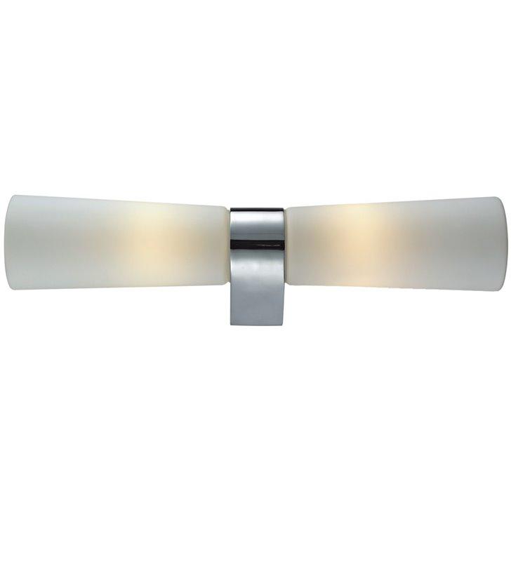 Podwójny kinkiet łazienkowy Aqua chrom białe szklane klosze