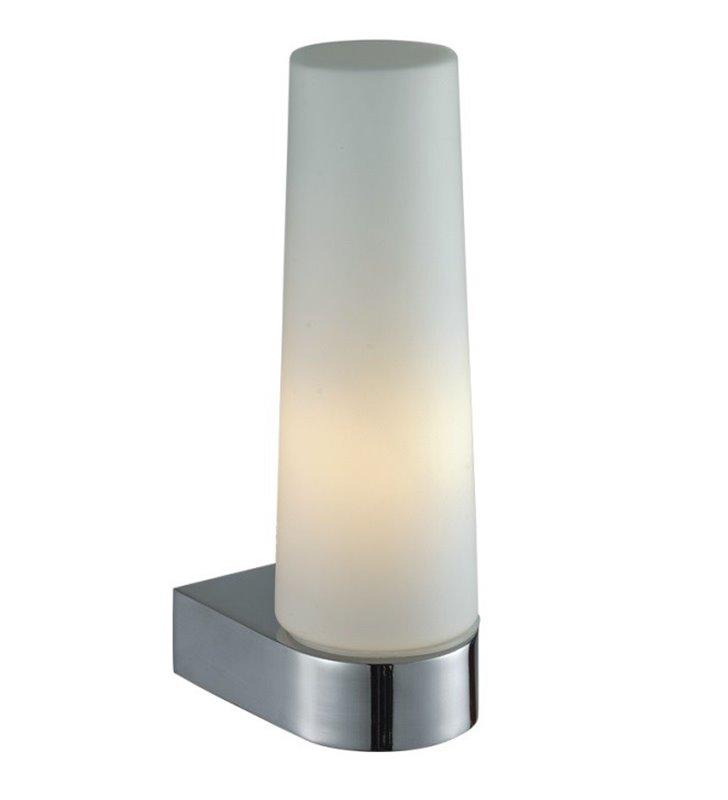 Kinkiet łazienkowy Aqua chrom pojedynczy montaż z boku lustra klosz biały ze szkła