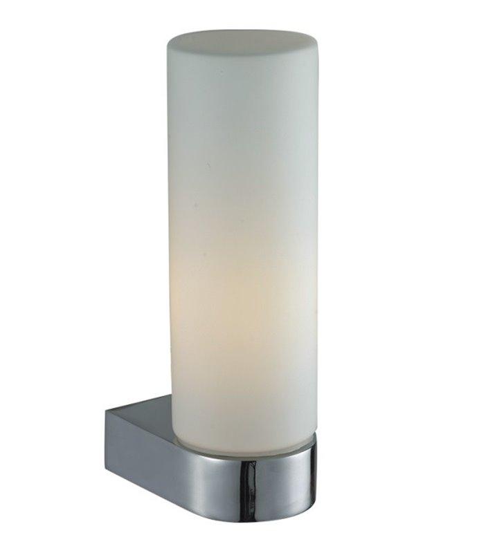 Kinkiet do oświetlenia lustra łazienkowego Aqua chrom pojedynczy z białym szklanym kloszem