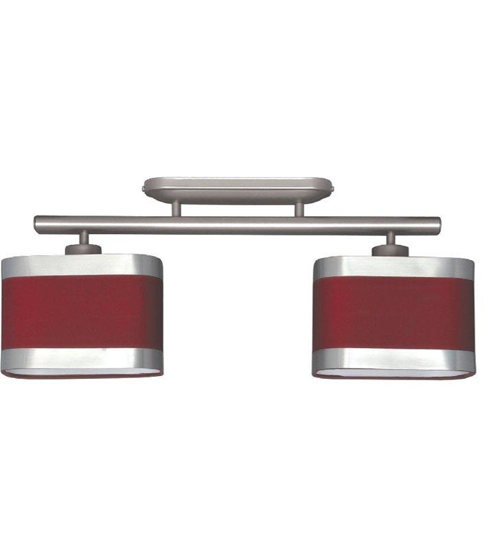 Lampa sufitowa Selene czerwona 2 żarówki abażury metal kolor satyna