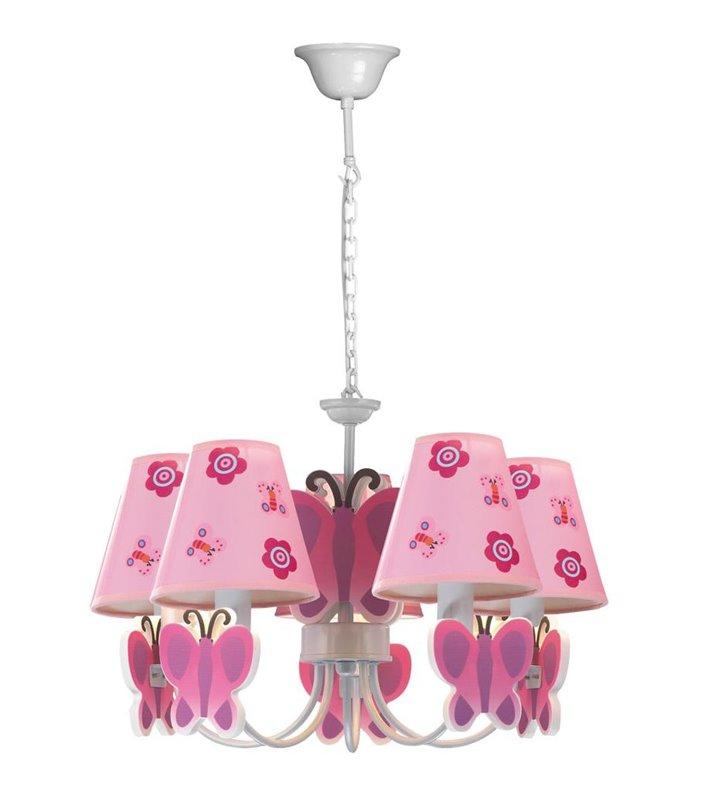 Motylek różowa lampa wisząca żyrandol do pokoju dziewczynki 5 punktowy - OD RĘKI