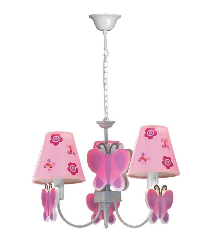Motylek różowa lampa wisząca żyrandol do pokoju dziewczynki 3 punktowy - OD RĘKI