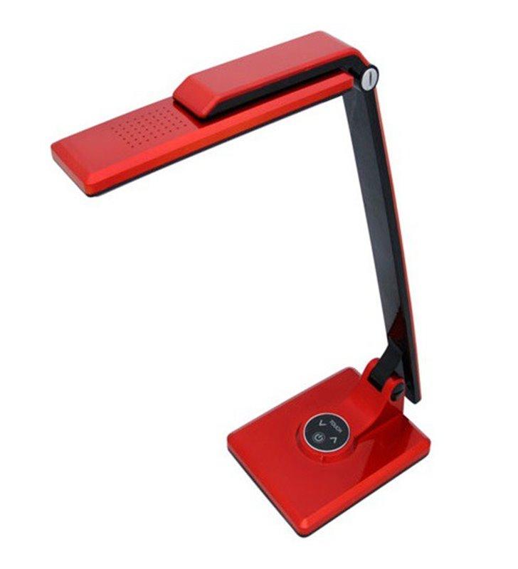 Nowoczesna lampka biurkowa czerwona Miro LED włącznik dotykowy klosz można przekręcać 5300K