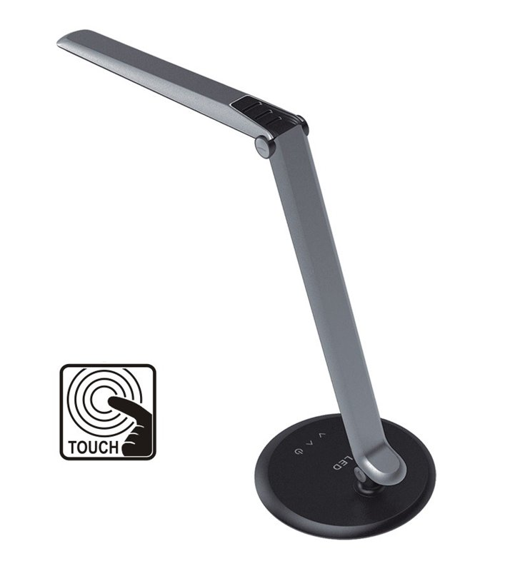 Lampa biurkowa Duo LED srebrna z włącznikiem dotykowym styl nowoczesny