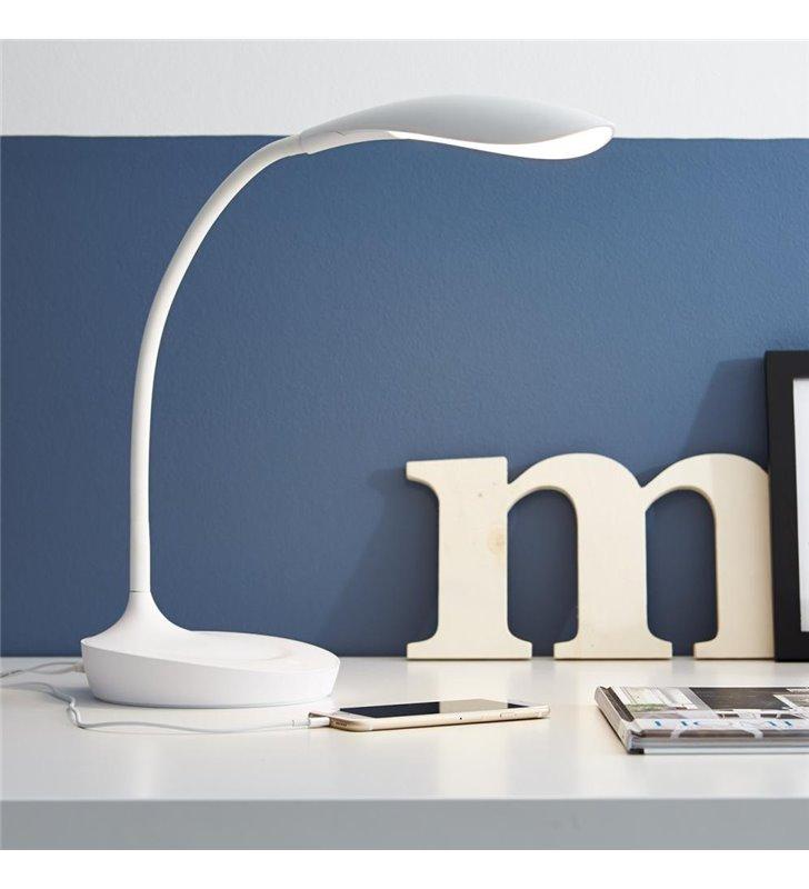 Lampa biurkowa Swan z wejściem USB biała