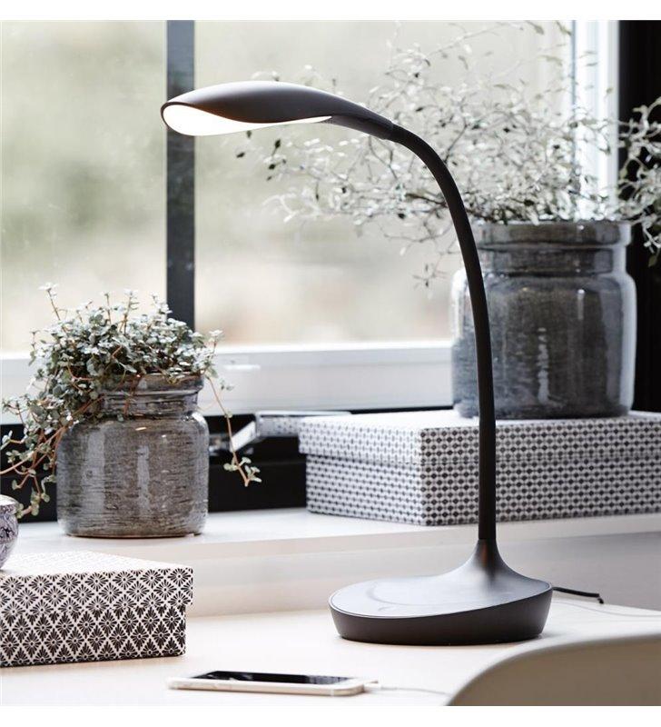 Lampa biurkowa Swan z wejściem USB czarna