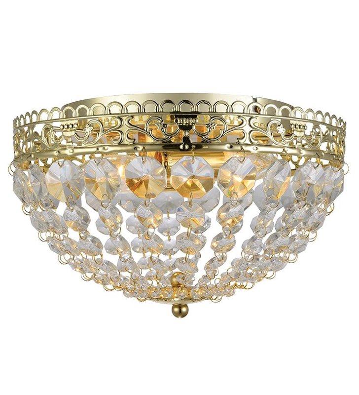 Plafon Saxholm 270 kryształowy okrągły złoty z bezbarwnymi kryształkami do salonu sypialni na przedpokój