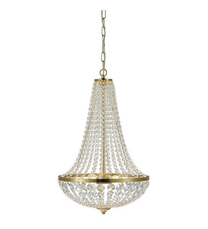 Złoty żyrandol kryształowy Granso lampa wisząca kryształowa