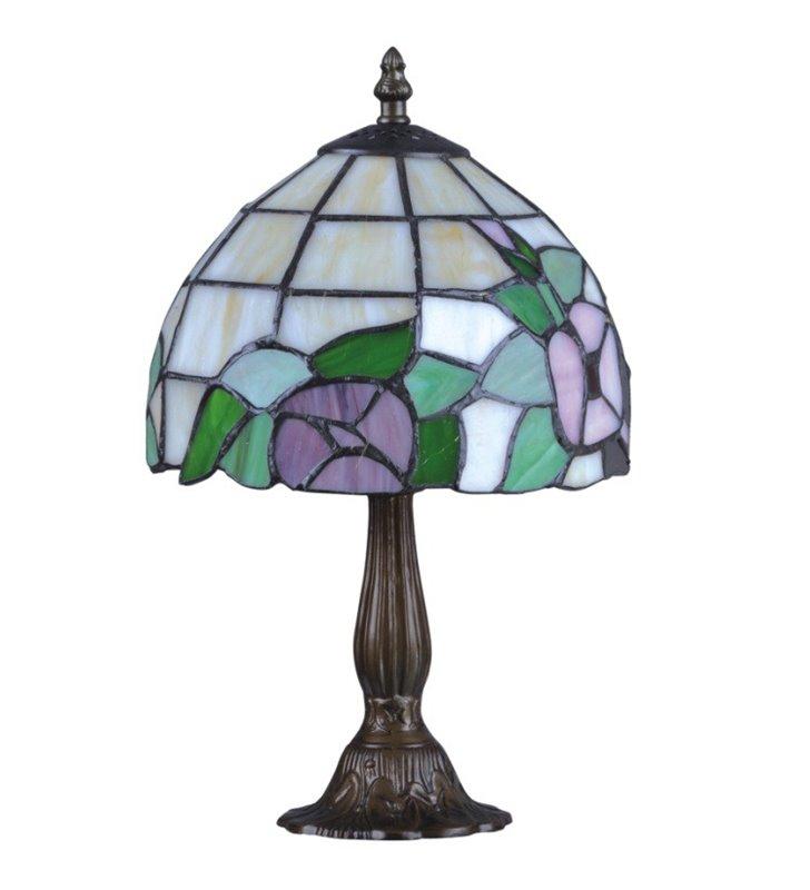 Teco witrażowa lampa stołowa z kwiatami wysokość 36cm brązowa klasyczna podstawa