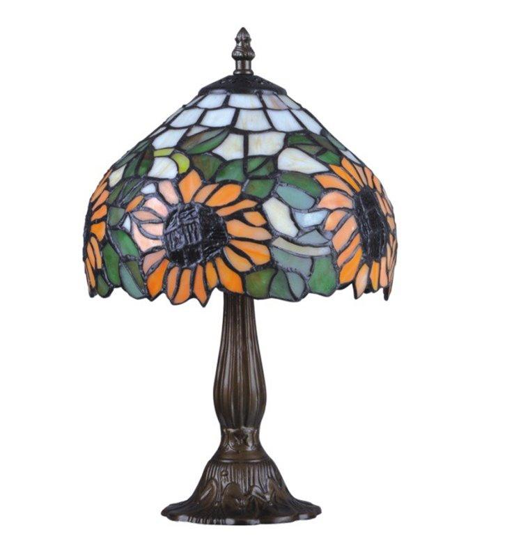 Lampa stołowa Teco witrażowa ze słonecznikami klasyczna w stylu Tiffany