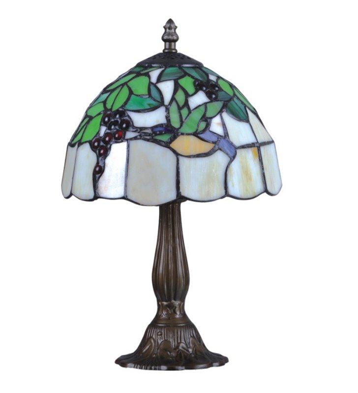 Lampa stołowa Teco witrażowa w stylu Tiffany klosz ze szkła i masy perłowej brązowa metalowa podstawa