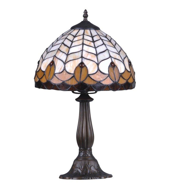 Beżowo brązowa witrażowa lampa stołowa Sargan wysokość 49cm