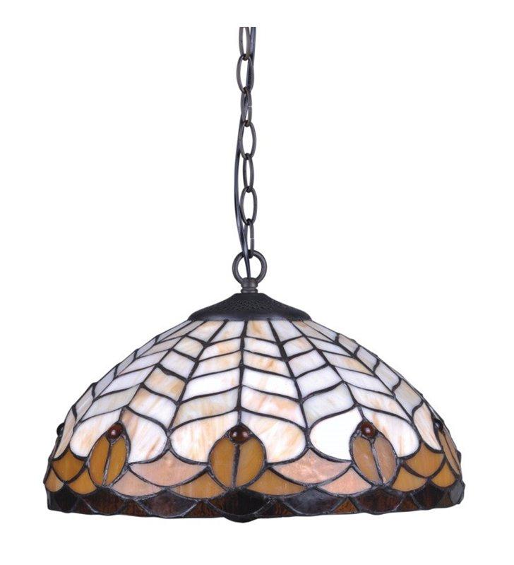 Witrażowa lampa wisząca Sargan odcienie brązu i beżu do kuchni jadalni salonu sypialni nad stół