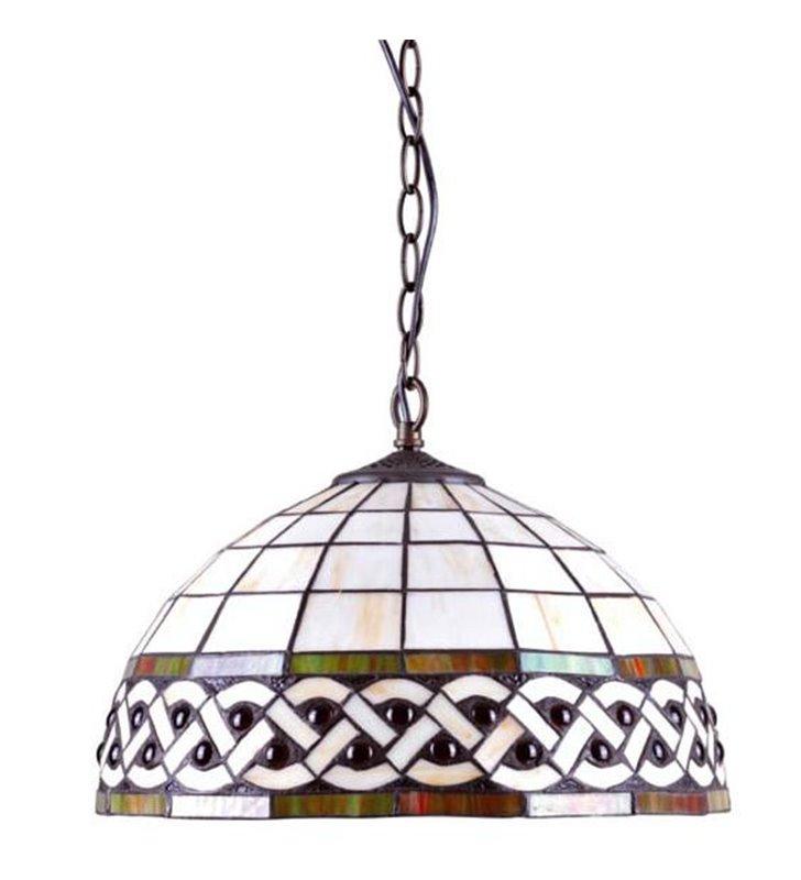 Lampa wisząca Tiffany witrażowa z masy perłowej i szkła brązowe wykończenie do kuchni jadalni do salonu sypialni