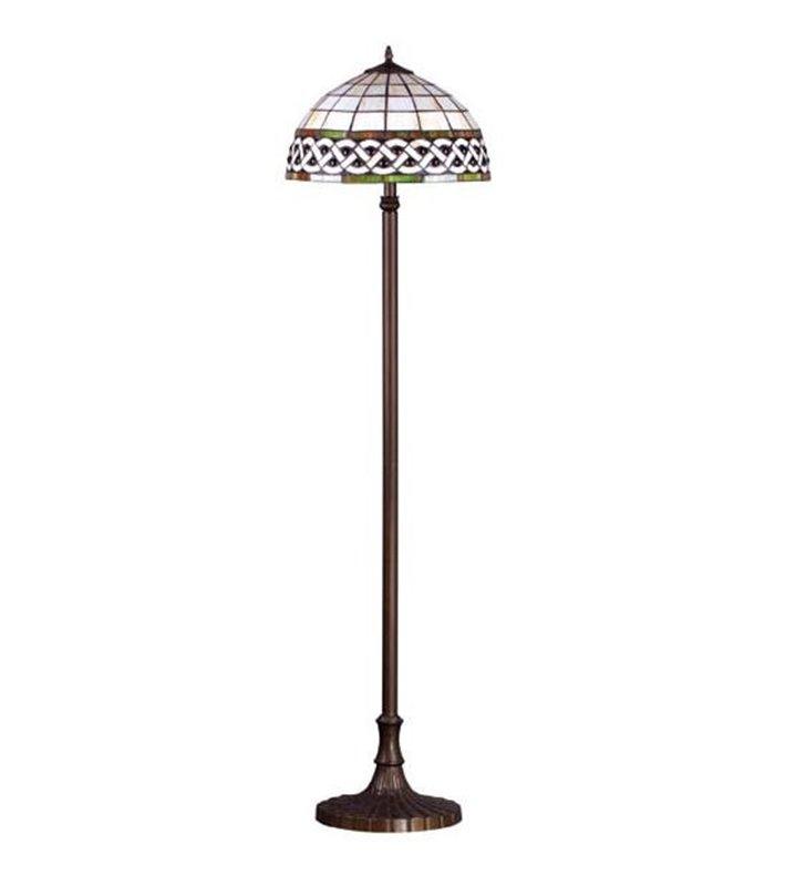 Witrażowa lampa stojąca Tiffany klosz z masy perłowej i szkła metalowa brązowa podstawa elegancka styl klasyczny