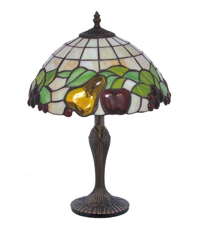 Średniej wielkości witrażowa lampa stołowa z owocami Fruit kolorowa na komodę do jadalni restauracji