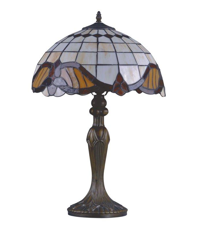 Witrażowa wysoka klasyczna lampa stołowa Witraż w stylu Tiffany do sypialni na stolik nocny na komodę