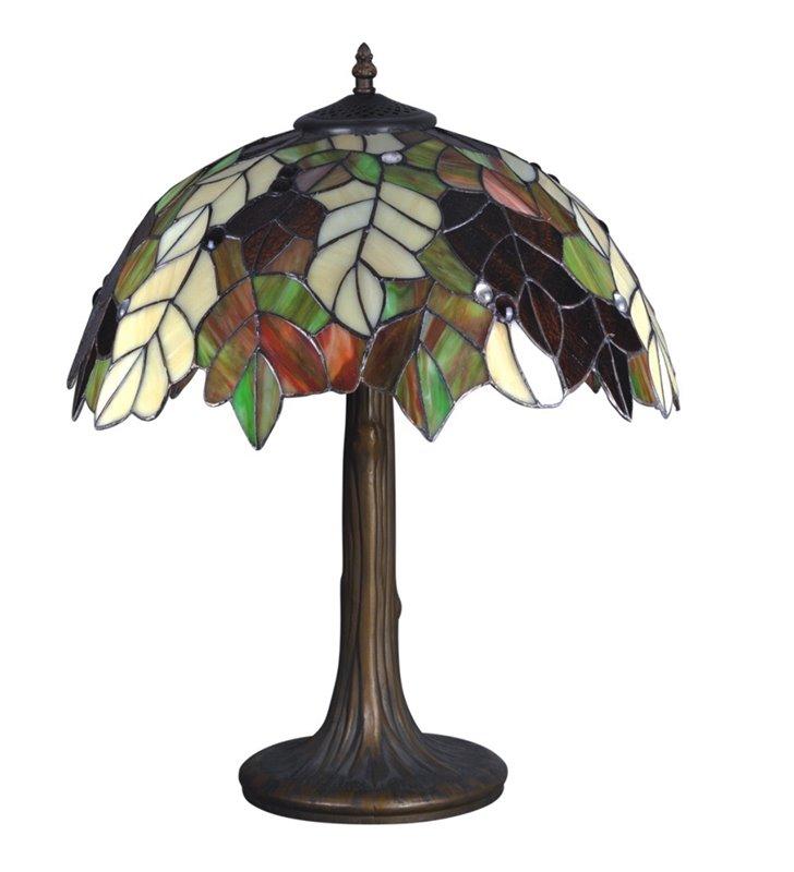 Witrażowa kolorowa lampa stołowa Carson klosz jak jesienne liście do salonu sypialni na komodę stolik nocny