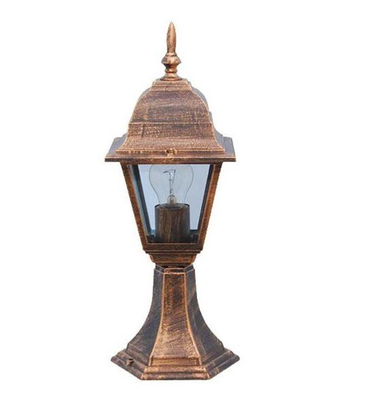 Słupek ogrodowy Parma wysokość 42cm złoty przecierany styl klasyczny latarenka