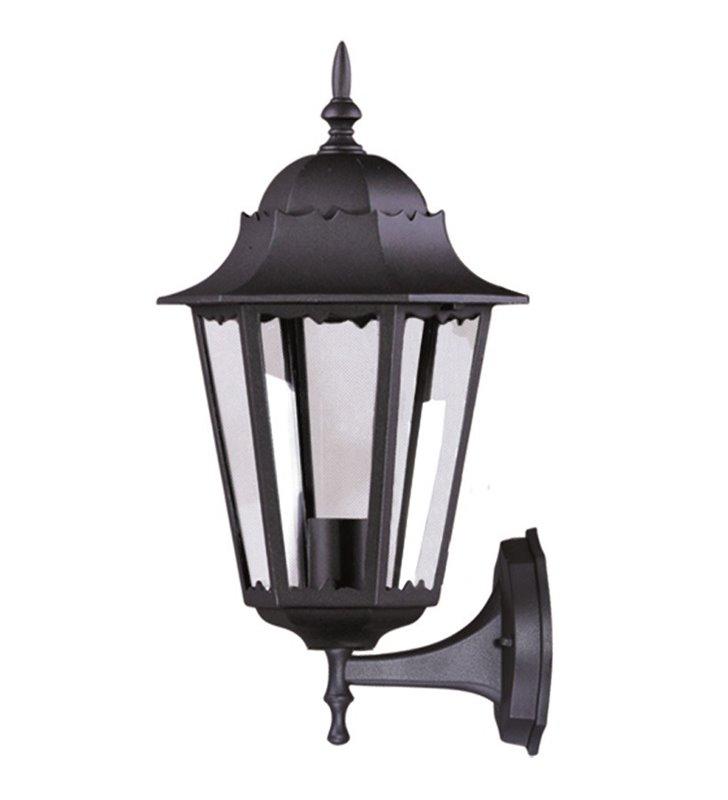 Klasyczna latarenka kinkiet ogrodowy Lozana kolor czarny klosz w górę